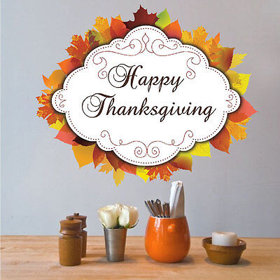 Happy Thanksgiving Wall Decal Fall Wallpaper Seasonal Decorations Vinyl, h29](Thanksgiving Home Decorations)