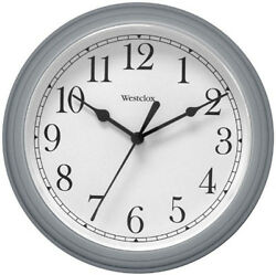 Westclox Round Gray Wall Clock 9 Arabic White Dial 46984A