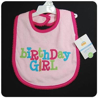 New/NWT~CARTERS 1st First Birthday Girl Bib~Pink w/candle~x lrg Terry~BACK SNAP Infant Snap Terry Bibs
