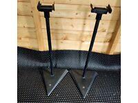 Black adjustable speaker stands