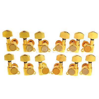 2 Set 3L3R Electric Guitar String Tuning Peg Machine Head Tuner Gold Key