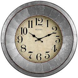 Bulova Industrial Galvanized Silver Tone Wall Clock C4839