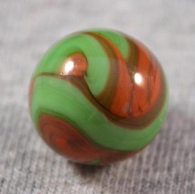 """MINT CAC CHRISTENSEN AGATE FLAME SWIRL MARBLE 3-COLORS 5/8"""" (.620"""") Nice Pattern"""