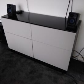 IKEA BESTA storage/ TV / side unit x2 drawers x2 cupboards light grey + black brown wood + glass top