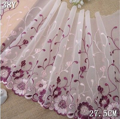 Beautiful Floral Embroidered Tulle Lace Trim/Fabric for Sewing/11 inches Wide