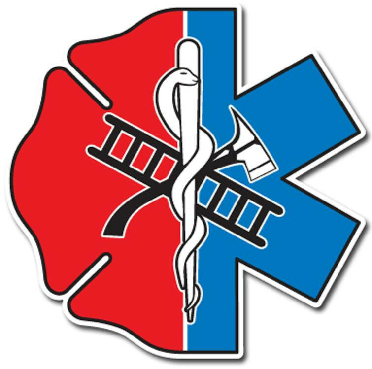 """Maltese Cross Star of Life Half and Half Reflective Emergency Decal Size 2 7/8"""""""