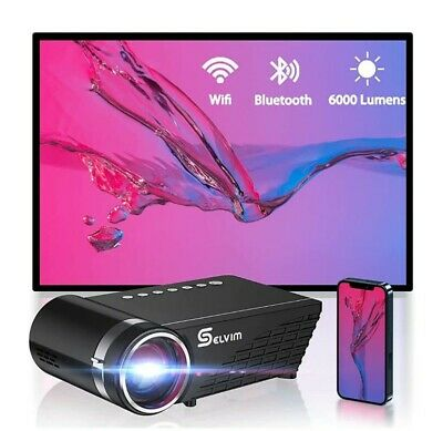 Proiettore Portatile per Telefono, Supporta 1080P Full HD con 6000 Lumens, 60000