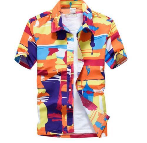 Summer Holiday Men Hawaiian Shirts Beach Party Button Down T-Shirt Tops Tee