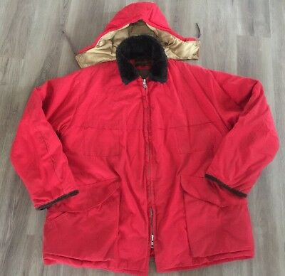 85b1de401a5d4 Vintage 1960s Men's 10X Red Hunting Shooting Jacket Quilted With Down Hood  XL