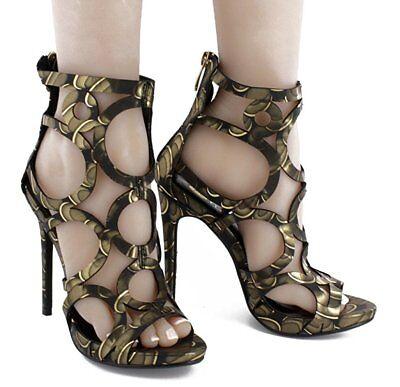 New Women Open Toe Cage CutOut Gladiator Sandal Shoe Stiletto High Heel Platform ()
