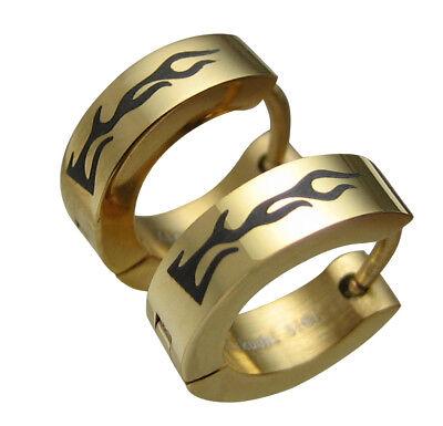 Kikuchi Ohrringe Gold IP aus Edelstahl Herren klapp Creolen Feuer Flamme Schwarz (Flamme Ohrringe)