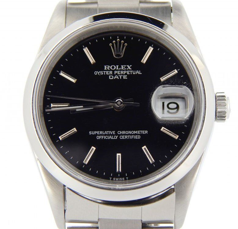 Men Rolex Date Stainless Steel Watch Oyster Band Black Dial No Holes Model 15200