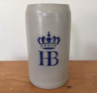 Vintage HB Hofbrauhaus Am Platzl Salt Glazed German Stoneware Beer Stein 1 Liter