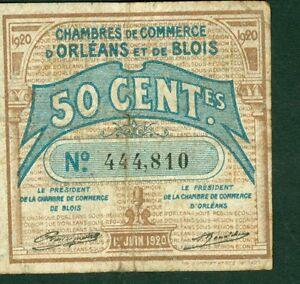 Billets de n cessit 50 centimes chambre com d 39 orleans et for Chambre de commerce orleans