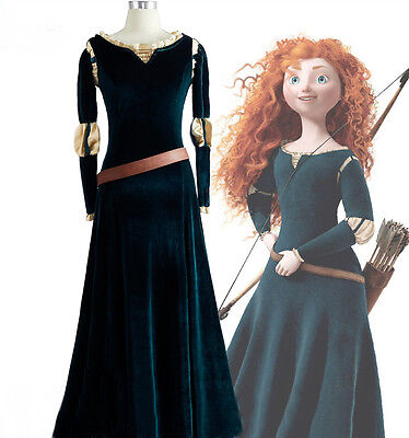 Brave Princess Merida Disney Cosplay Kostüm Kleid lang long Dress Costume neu