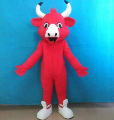 Halloween Red The Bull Mascot Costume Suits Cosplay Party Game Dress Adults New
