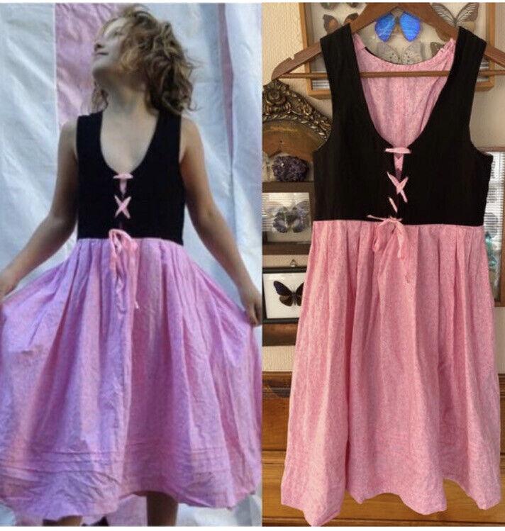 Oktoberfest Dirndl Dress Sz 10 yrs old 11 12 black pink German Heidi