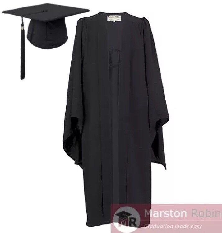 Bachelor level university academic graduation gown with mortarboard ...
