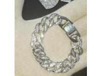 Silver Diamond Cuban Bracelet