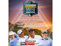 4 x tickets to the European golf senior masters in Birmingham this weekend