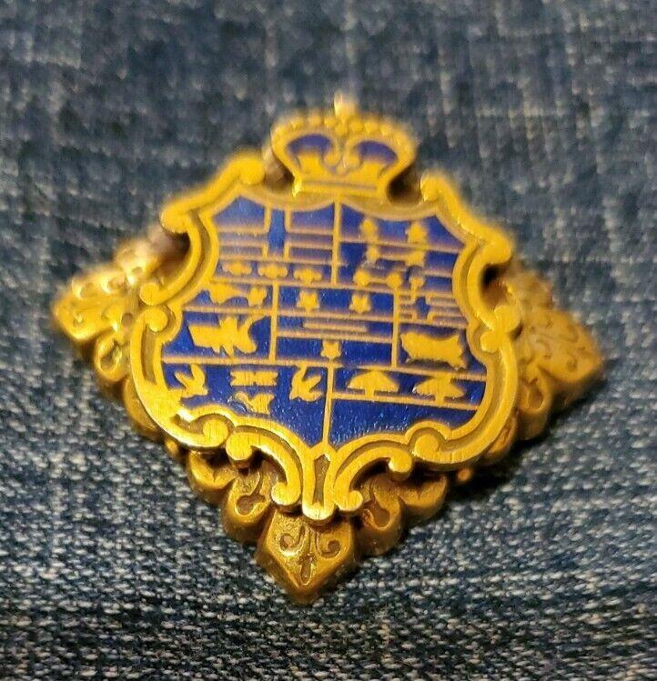 ANTIQUE FLEUR de LIS Gold Stacked Cloisenne Enamel SHIELD CREST Crown BROOCH PIN