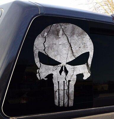 Punisher Skull Cracked Rock Stone Military Decal Sticker Graphic - 5 - Cracked Skull