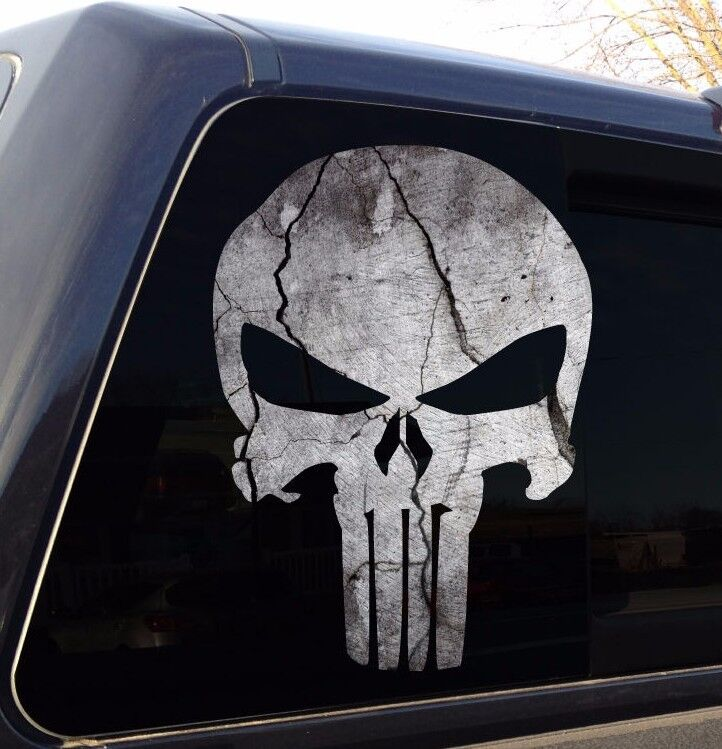 Punisher Skull Cracked Rock Stone Military Decal Sticker