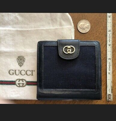 Gucci vintage wallet navy blue monogram cloth and leather w felt bag some wear