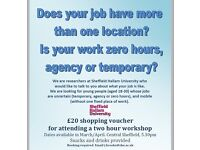 Mobile Temp/Agency/Zero hours workers wanted for focus group research. £20 shopping voucher rewards