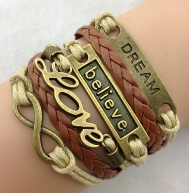 Fashion Love Anchor Believe Dream Bronze Leather Charm Infinity Bracelet Jewelry