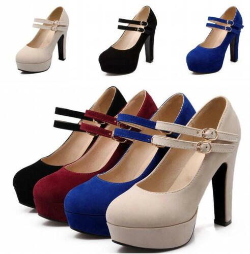 Womens Sweet Ankle Strap Mary Jane Court Shoes Round Toe Mid Block Heels Pumps Y
