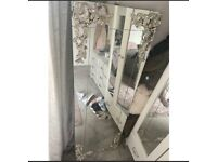 Free standing mirror vintage style silver flower