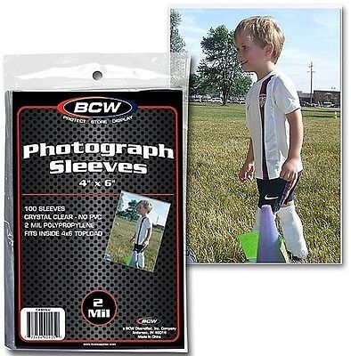 100 New BCW 4X6 Protective Sleeves - Photo 2 mil 4  X 6 Soft Sleeves