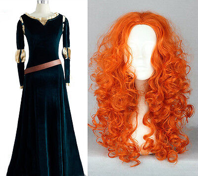 Brave Princess Merida Disney Cosplay Kostüm Kleid Dress Costume + Wig Perücke