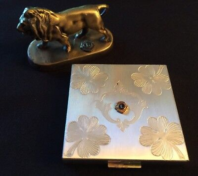 Vintage LIONS CLUB Keepsakes BRASS LION PAPERWEIGHT & ZELL FITH AVE COMPACT