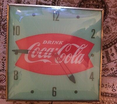 "Vintage 1960 PAM Drink Coca Cola Fishtail 15"" Lighted Clock Sign~Works Great"