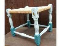 Vintage Foot Stool Hand Painted Turquoise String Woven Top Perfect For The Nursery Of Child's Room