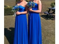 Two blue bridesmaid dresses
