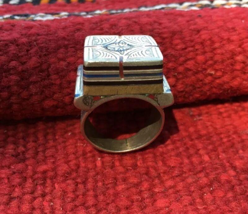 Vintage Moroccan Tuareg Ring Silver Ebony Brass Etched Tribal Symbols Sz 9