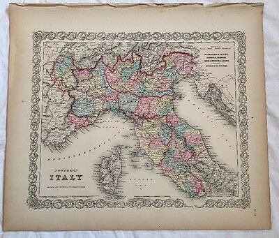 Northern ITALY, No 18, Antique Atlas Map 1855 Colton World Maps