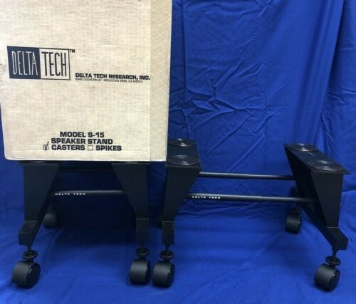 Delta Tech S-15, Adjustable Width Speaker Stands Casters - New Old Stock