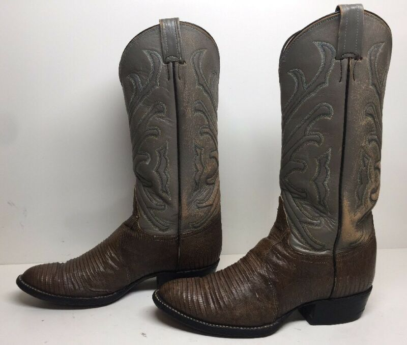 VTG, MENS, TONY, LAMA, COWBOY, LIZARD, SKIN, LEATHER, BROWN, BOOTS, SIZE, 7.5, C