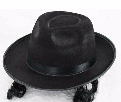 Schwarz Jüdische Rabbi mit Koteletten Lockig Haar Herren Kostüm Hut - Rabbi Hut Kostüm