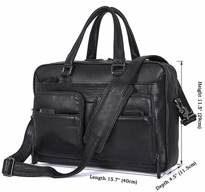- J.M.D Mens Leather Cowhide Deluxe Briefcase 15.7