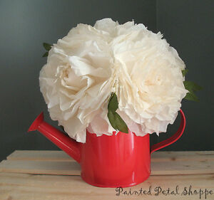 Cream Coffee Filter Peony in Red Watering Can/Spring Arrangement Belleville Belleville Area image 4
