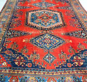 Semi-Antique Persian Rug,10.4 x 7.3 ft,Wool,Red,Navy blue