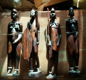 African carved wooden masai figurines
