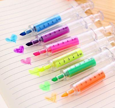 Fluorescent Needle Syringe Tube Highlighter Marker Pen Writer Office Stationery