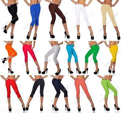 Damen Leggins Leggings Capri 3/4 Farben Blickdicht 36 38 40 42 44 46 mf3