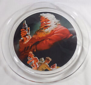 """Heavy-Weight-Coca-Cola-Santa-Claus-Clear Glass 13"""" Serving Tray"""